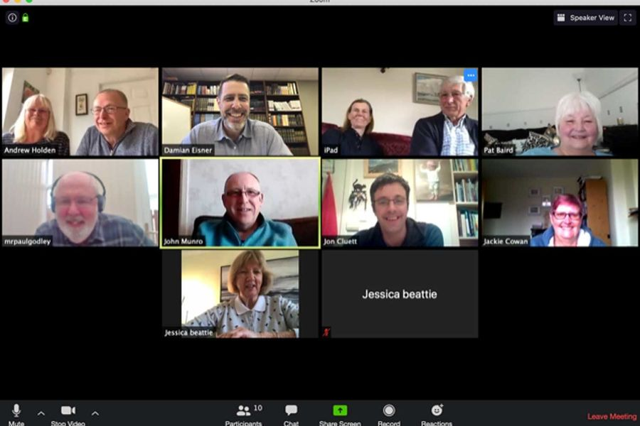 The members of the Stirling, Scotland, Torah Club meet with Damian Eisner on Zoom.
